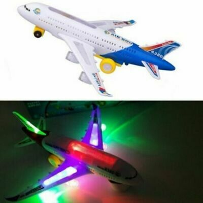 Electric Toy With Light & Music Kids Airplane Airbus Bump And Go Toys • 6.49£