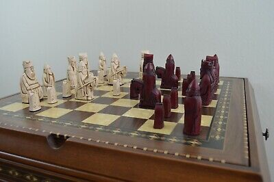Isle Of Lewis Chess Set Pieces Only - Burgundy And Cream -  Board Not Included. • 45£