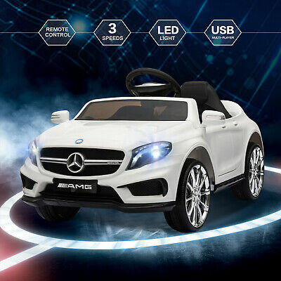 12V Kids Ride On Car Electric Licensed MERCEDES BENZ Remote Control Motors White • 109.99£