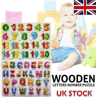 Wooden Puzzle Baby Kids Toddler Jigsaw Numbers Alphabet Letters Educational Toys • 3.49£