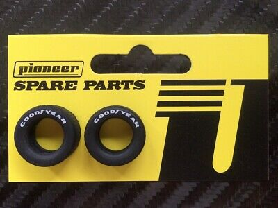 Pioneer Slot Car 1:32 Scale Generic Racing Front Tyres - White Good Year Print • 3.50£
