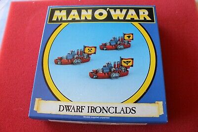 Games Workshop Man O' War Dwarf Ironclads Dwarves Boxed Metal Ships GW • 34.99£