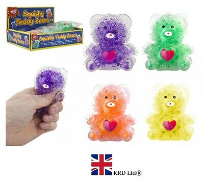 SQUISHY BEAR WITH GEL BEADS BALL Squeeze Stress Relief Kids Toy Gift PM543101 UK • 3£