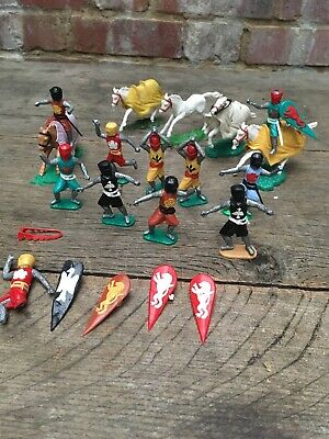 Vintage Timpo Toys Medieval Knights Middle Ages Swoppets 10x Figures & Horses • 60£