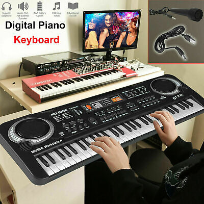 61 Keys Electric Piano Music Electronic Keyboard Beginners Organ Mini Microphone • 13.25£