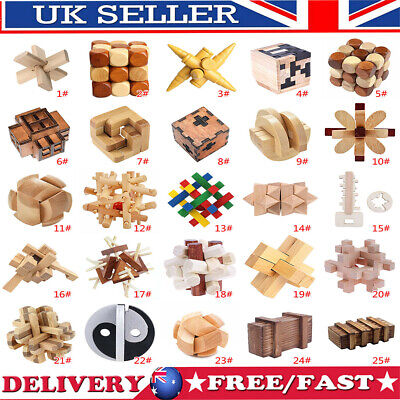 Wooden Kongming Lock Brain Teaser Puzzle Children Adults Educational Toy Gift UK • 6.24£