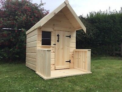 Childrens Wooden Play House Wendy House WithVeranda Suit Small Child TOP QUALITY • 174.99£