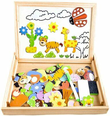 Wooden Magnetic Board Puzzle Games 100+ PCS Double Sided Jigsaw AnimalPattern  • 12.99£
