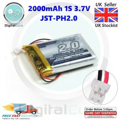 2000mAh 3.7V 1S 1C Lipo Battery 2-Pin JST-PH2.0 Connector For GPS, Sony, DIY Etc • 11.95£