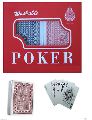 2 X Decks Of Plastic  Coated Classic Playing Cards Red & Blue Poker Game Boxed • 3.99£