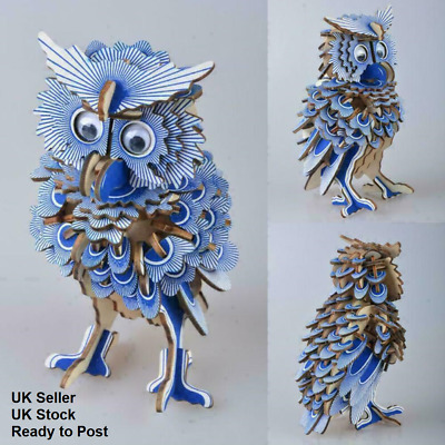 OWL 3D Blue Wooden Laser Cut Model Puzzle DIY Craft Self Assembly Great Gift • 9.99£