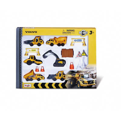 Volvo Construction Set Die Cast Vehicles With Plastic Site Accessories 15pc • 15.99£