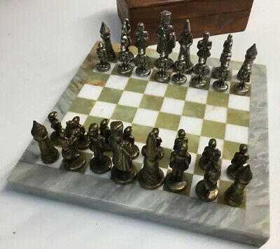 Marble Chessboard With Metal Pieces And Storage Box • 40£