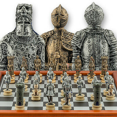 Chessmen Hand Painted Medieval Warrior Chess Set With 3  King - 40cm Chessboard • 66.95£
