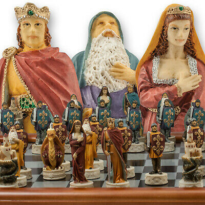 The Chessmen Hand Painted King Arthur Chess Set With 3  King And 40cm Chessboard • 64.95£