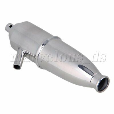 Silver W10001 Racing Tuned Aluminum Exhaust Pipe Fit All RC 1:10 Nitro Buggy Car • 19.80£