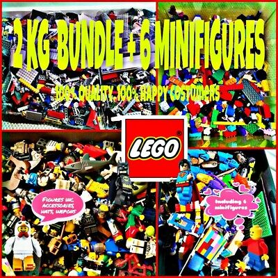 Lego Bundle Assorted 2 Kg Genuine 2000g Mixed Bricks 4 Minifigures  Lot Set Bulk • 30.99£