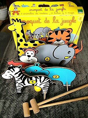 Vintage Childrens Wooden Outoor Game Jungle Animals CROQUET Age 3+ • 25£