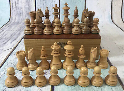 Vintage Weighted Staunton Wooden Chess Pieces In Wooden Box K = 65mm • 79.99£