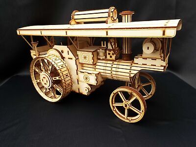 Large Laser Cut Wooden Steam Traction Engine 3D Ply Model Puzzle Kit • 49.99£