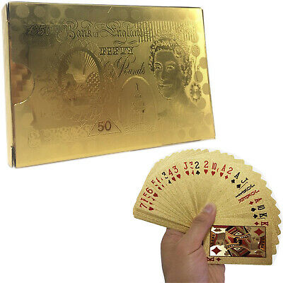 24k Gold Plated Waterproof Pound Playing Cards Game Full Poker Deck 99.9% Pure • 2.72£