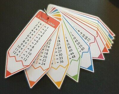 Times Tables Flash Cards 1-12 Maths Numeracy Resources Pocket Size Pencil Design • 2.90£