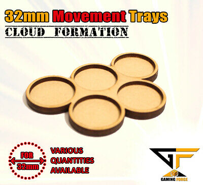 32mm Movement Trays MDF For Warhammer 40k Age Of Sigmar LOTR Bolt Action CLOUD5 • 5.26£