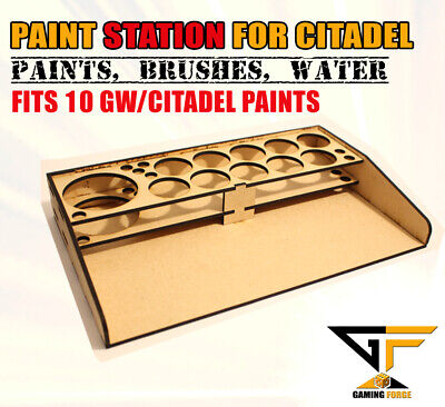 Model Paint Station Stand For Gamesworkshop Citadel Paints, Brushes & Water Cup • 8.49£