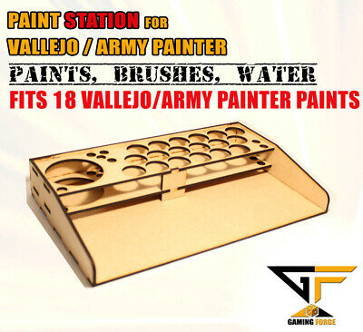 Model Paint Station Stand For Army Painter / Vallejo Paints, Brushes & Water Cup • 8.49£