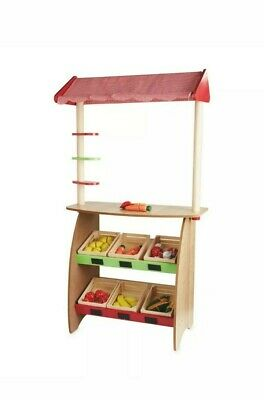 Little Town Wooden Market Stall 3+ Years Inc 6 Wooden Crates Of Wooden Play Food • 45£
