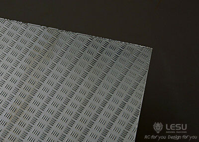 LESU / HH 1:14 Or 1:10 Scale Metal Chequer Plate Sheet 4 Bar Pattern. Fit Tamiya • 15£