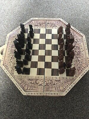 Hand Carved Wooden Chess Set With Backgammon Board • 70£