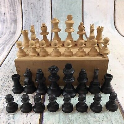 Vintage Wooden Chess Pieces Set In Wooden Box. ( K = 68mm , P = 30mm ) • 13.59£