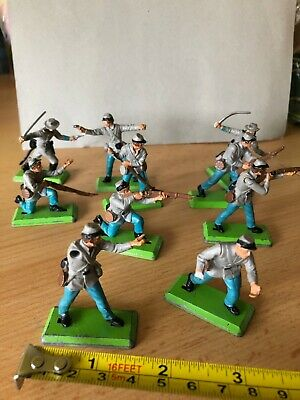 Britains Deetail 1971, ACW Confederate Infantry Soldiers, Plastic , Metal Stands • 9.16£