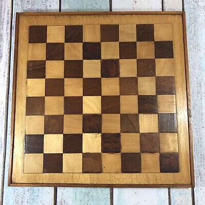 Vintage Large Wooden Inlay Framed Chess Board 42 X 42 Cm • 49.99£