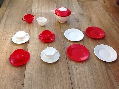 Toy Red And White Plastic Tea Set • 2£