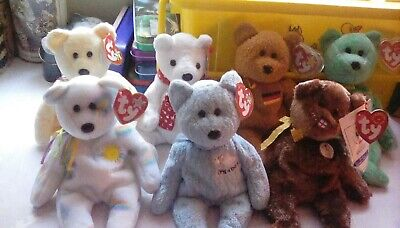 Collection Of 7 Ty Beanie Babies Bears • 3£