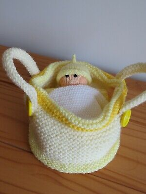 Hand Knitted Baby In Crib • 8£