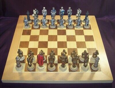 Game Chess & Draughts Set With Full / Complete Medieval With Plateau Wood Raw • 140.77£