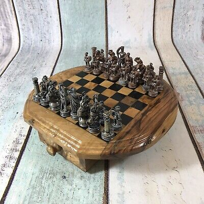 Roman Metal Chess Set With Wooden Chess Board And Drawers Table Top Travel • 26.99£