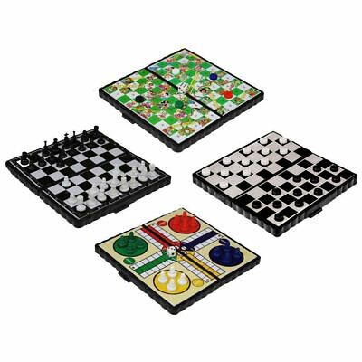 Magnetic Travel Board Games Set Of 4 - Snakes & Ladders, Ludo, Chess, Draught • 5.75£