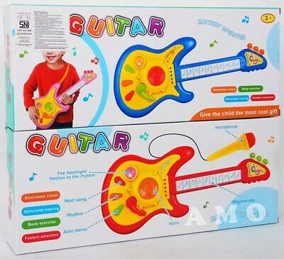 Kids Guitar Toy Educational Instrument With Light Music With Microphone Gift- • 8.25£