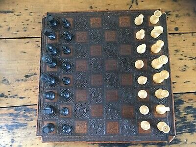 Vintage Small Chess Set - Chess Board & Chess Pieces • 20£