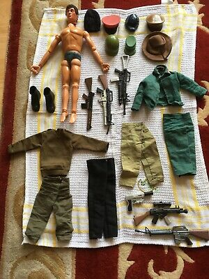 Vintage Action Man Eagle Eyes Brown Hair Gripping Hands And Accessories • 65£