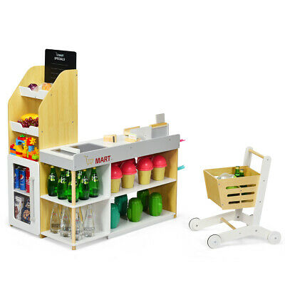 Kids Wood Supermarket Playset Shop Stall Pretend Toy Cash Shopping Cart Trolley • 87.95£