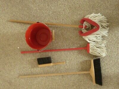 Toy Cleaning Set Bucket, Mop, Brush, Small Brush And Pan • 6£