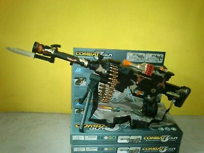 Combat 3 Army Commando Machine Gun Pistol With Lights And Sounds Kids Toy • 8.49£