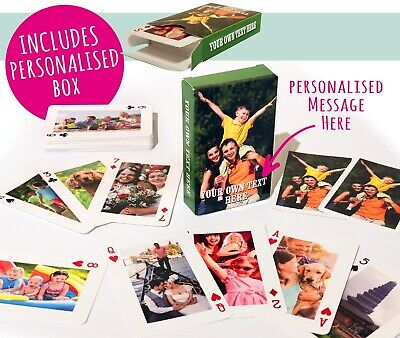 Personalised Playing Cards - Your Images On Both Sides! - With Personalised Box! • 11.99£