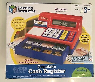 Learning Resources Toy Till Cash Register Calculator Play Money Notes Coins • 29£