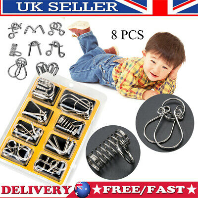 8pcs Metal Puzzle Wire IQ Mind Brain Kids Adults Stress Reliever Toy Xmas Gifts • 5.22£
